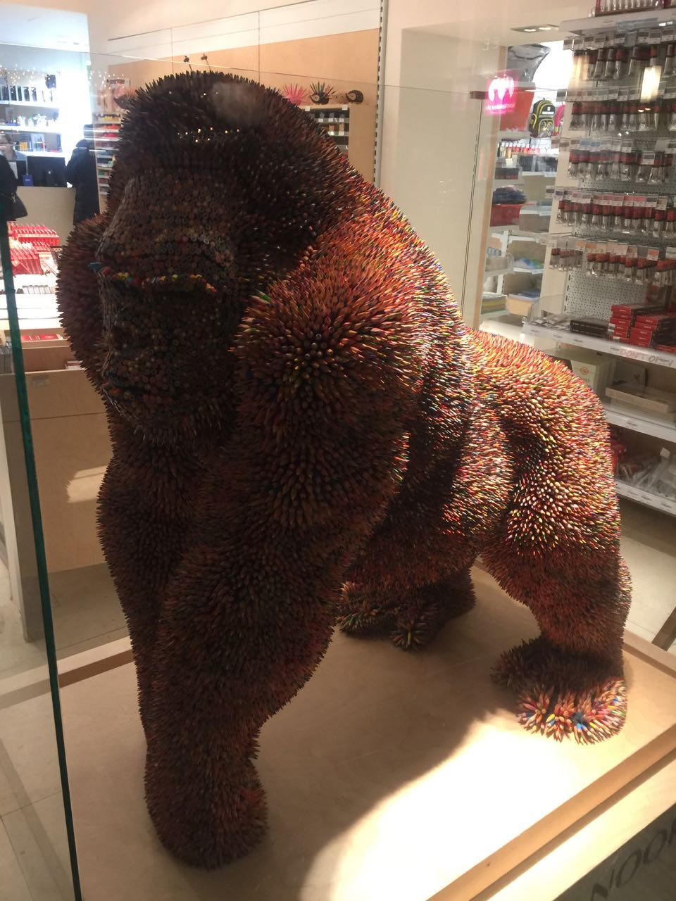 gorilla made of pencils