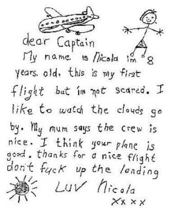 Kids note to pilot